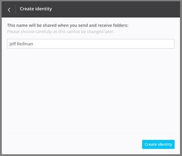 BitTorrent Sync Create Identity