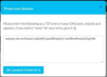 Keybase Prove Your Domain via DNS TXT Record