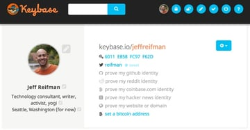 Keybase My Expanded Keybase Profile for Jeff Reifman