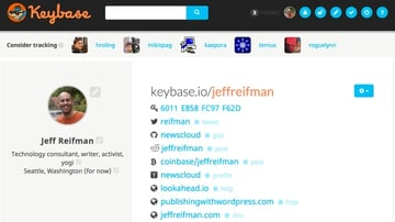 The Keybase profile for Jeff Reifman and his public PGP key