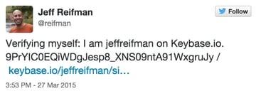 Keybase Verification Tweet for Jeff Reifman reifman twitter account