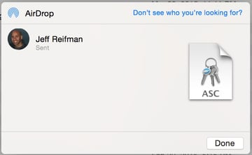 iPGMail Sending Your Private Key via Airdrop from Desktop to iPhone