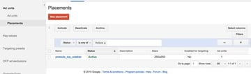 Google DFP Placements Listings