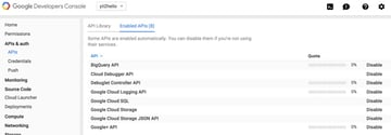 Programming Yii2 Google Developers Console List Enabled APIs