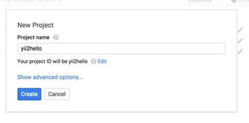 Programming Yii2 Google Developers Console New Project