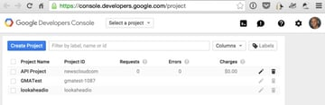 Programming Yii2 Google Developers Console