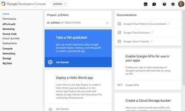 Programming Yii2 Google Developers Console Project Homepage