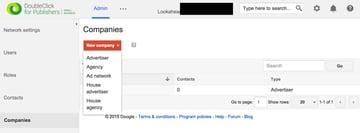 Google DFP New Company