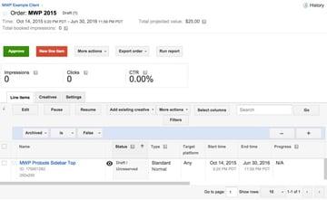 Google DFP Order listings