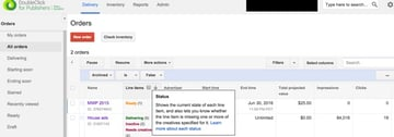 Google DFP Status Ready or Not Ready