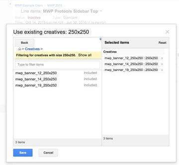Google DFP Use Existing Creatives