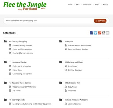 Flee the Jungle Portland - Home Page Example