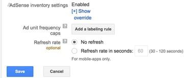 Google DFP House Ads - AdSense Inventory Settings