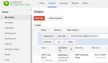 Google DFP House Ads - Create a New Order