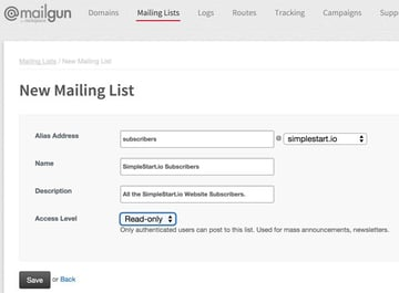 Mailgun Plugin - Mailgun Create a Mailing List