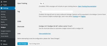 Mailgun Plugin - Plugin Settings Bottom of Page