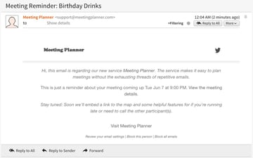 Meeting Planner Reminders - Example of a Reminder Email