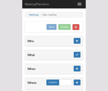 Meeting Planner Responsive Web - Responsive New Plan a Meeting Form