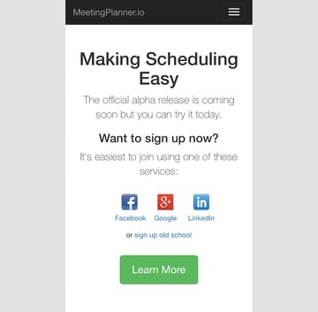 Meeting Planner Responsive Web - Home Page