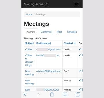 Meeting Planner Responsive Web - Meetings List