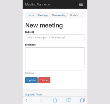 Meeting Planner Responsive Web - New Meeting Subject Form