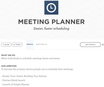 Building Your Startup - The Meeting Planner WeFunder Profile and Editor