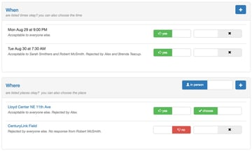 Startup Series Group Scheduling - Time and Place Availability Lists