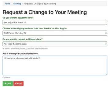 Startup Series Group Scheduling - Request a Change to Your Meeting