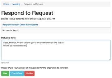 Startup Series Group Scheduling - Participants View of Responding to a Request