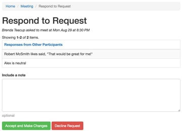 Startup Series Group Scheduling - Organizers View of Responding to a Request