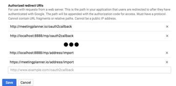 Building Startups Google Contacts API - Google API Credentials Form lower part