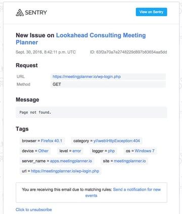 Building Startups Error Logging - Sentry Email Bug Report