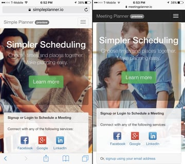 Building Your Startup Bootstrap Improved Mobile Home Pages side by side