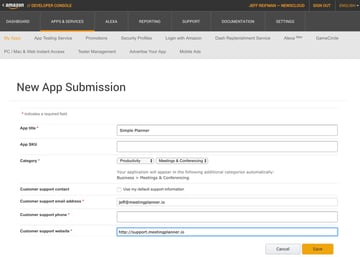 Amazon Appstore - New App Submission Form