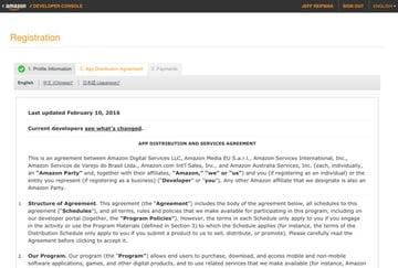 Amazon Appstore - App Distribution Agreement