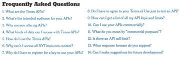 New York Times API - FAQ