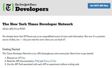 New York Times API - API Gallery Home Page