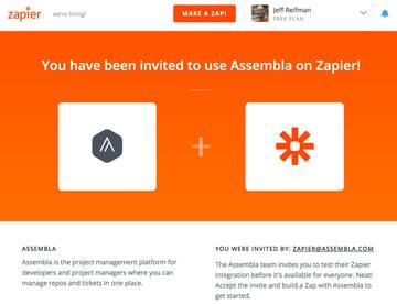 Assembla Zapier Automated Workflow - Assembla Invitation