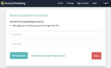 Acuity Scheduling Developer API - OAuth2 Authentication Screen