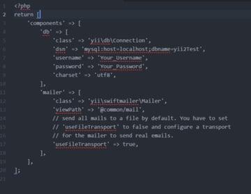 Install Yii on Windows or a Mac - Yii config main-local ini file