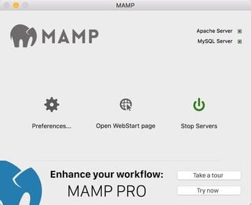 Install Yii on Windows or a Mac - MAMP Window