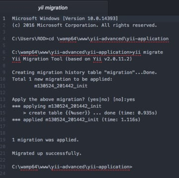 Install Yii on Windows or a Mac - Yii Migration results