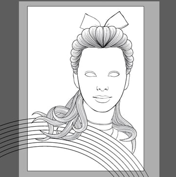Continue using the hair line art style