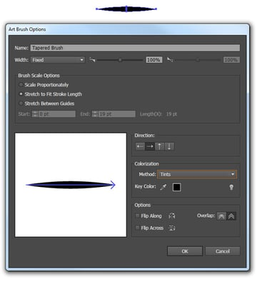 Create a tapered art brush