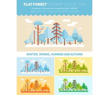 Flat Style Forest Vector Illustration