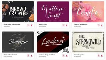 Popular Fonts on Envato Elements