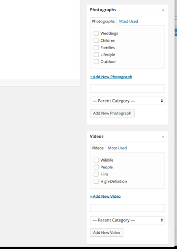 Photograph and Video Categories