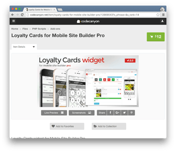 Loyalty Cards for Mobile Site Builder Pro