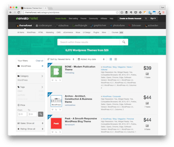 Themeforest for WordPress Themes in the Envato Market