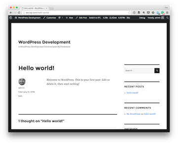 The standard Hello World that comes with WordPress